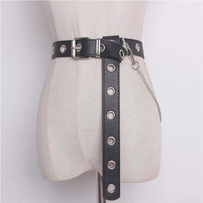 Neueste Design Abnehmbare Taille Gürtel Kette Punk Hip-Hop Trendy Frauen Gürtel Dame Mode silber Pin Schnalle leder Bund Jeans