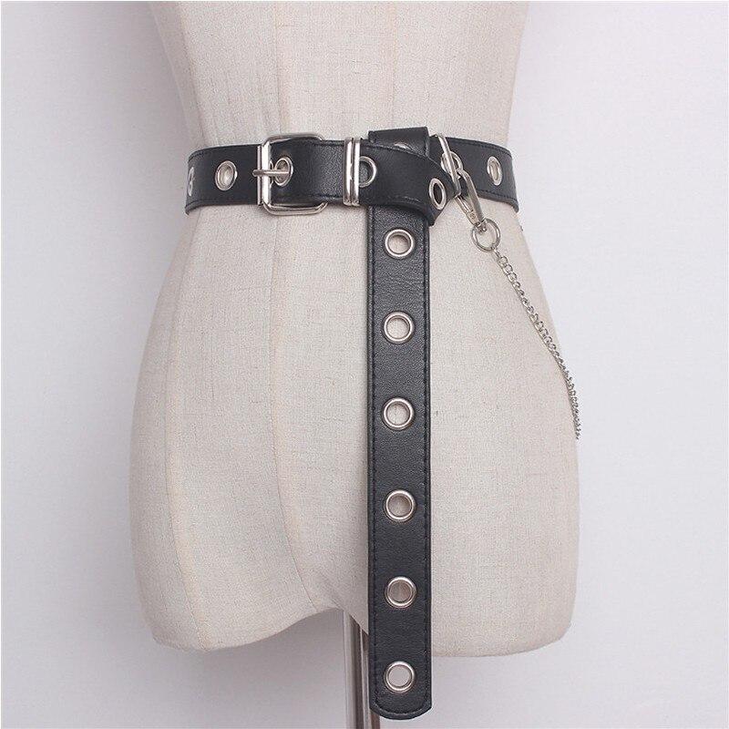 Nuevo diseño desmontable cintura cinturón cadena Punk hip-hop moda mujer cinturones señora moda plata Pin hebilla cuero cintura Jeans