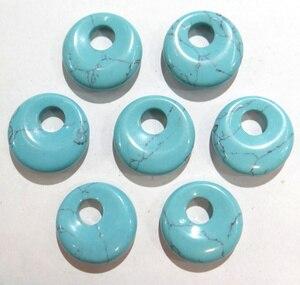 Image 4 - 15 stücke 18mm Natürliche Stein Achate Kristall Türkisen Verkrustete gogo donut anhänger für DIY schmuck machen halskette ohrringe zubehör