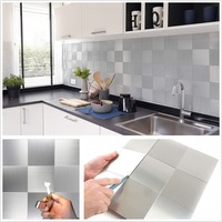 12 Inch Square Peel and Stick Tile Backsplash for Kitchen Bathroom Stove Walls Self Adhesive Silver Surface Metal Mosaic Tiles