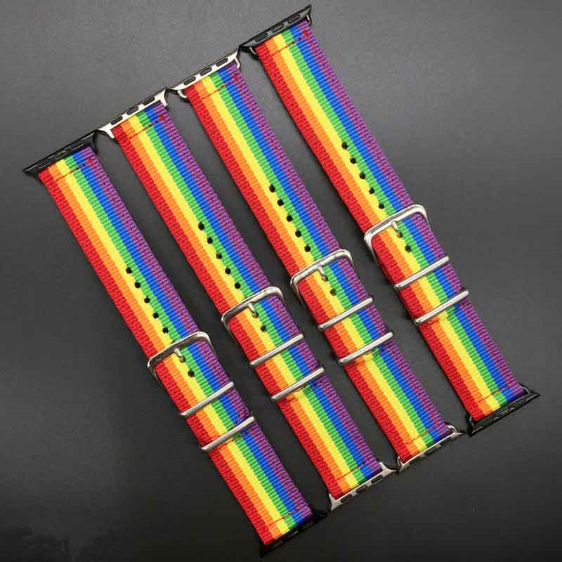 EIMO Woven Nylon strap For Apple Watch band 42mm 38mm sport loop bracelet wrist watchband rainbow belt for iwatch series 3/2/1 цена
