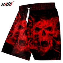 UJWI Men's Casual Shorts Cool Print Red Skull 3D Beach Board Shorts Male Bodybuilding Fintess Elastic Waist Boxer Trousers 5xl цена 2017