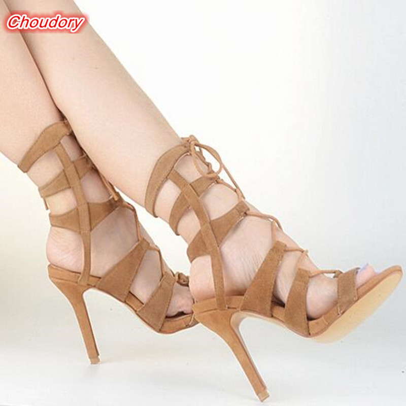 2017 Thin High Heels Sexy Cross-tied Women Sandals Open Toe Lace-up Gladiator Women Boots Rome Narrow Band Casual Female Sandals  rome new sexy high heels wedding shoes woman 2017 brand cross tied women luxury retro square toe gladiator sandals women boots