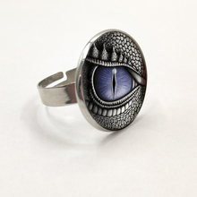 Dragon Eye Photo Tibet Silver Cabochon Glass Pendant Ring(China)