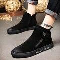 2016 hombres botas de Cuero Genuino diseñador otoño de los hombres zapatos de marca de moda de lujo de calidad Superior Negro Chelsea hombres botas de cremallera Zapatos
