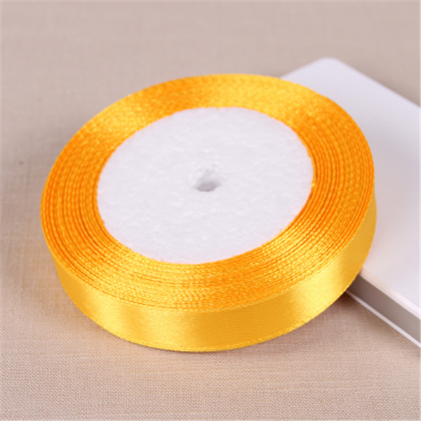 Us 1 31 10 Off 25yards Roll 15mm Golden Yellow Satin Ribbon Christmas Birthday Gifts Boxes And Wedding Chair Decoration Ribbons Wholesale In