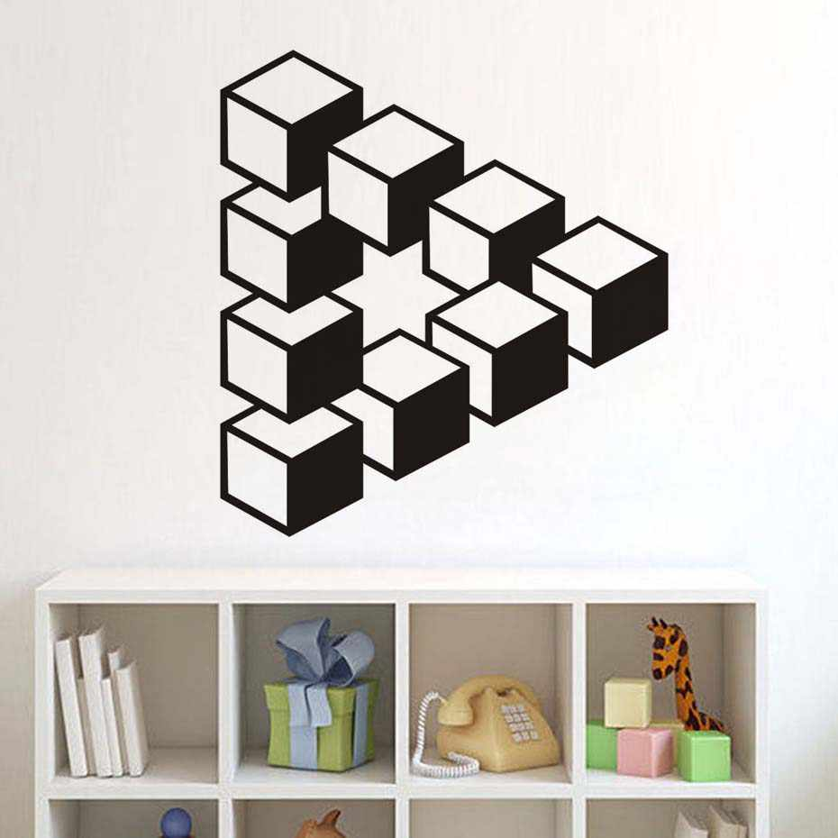 3d Black White Square Wall sticker Abstract Background Wall Papers for kids children  Bedroom Home Decor