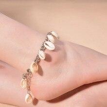 Summer Women Barefoot Sandle Ankle Bracelets Foot Jewelry Silver Shell Tassel Anklets Beach Accessory Wholesale 6Pcs