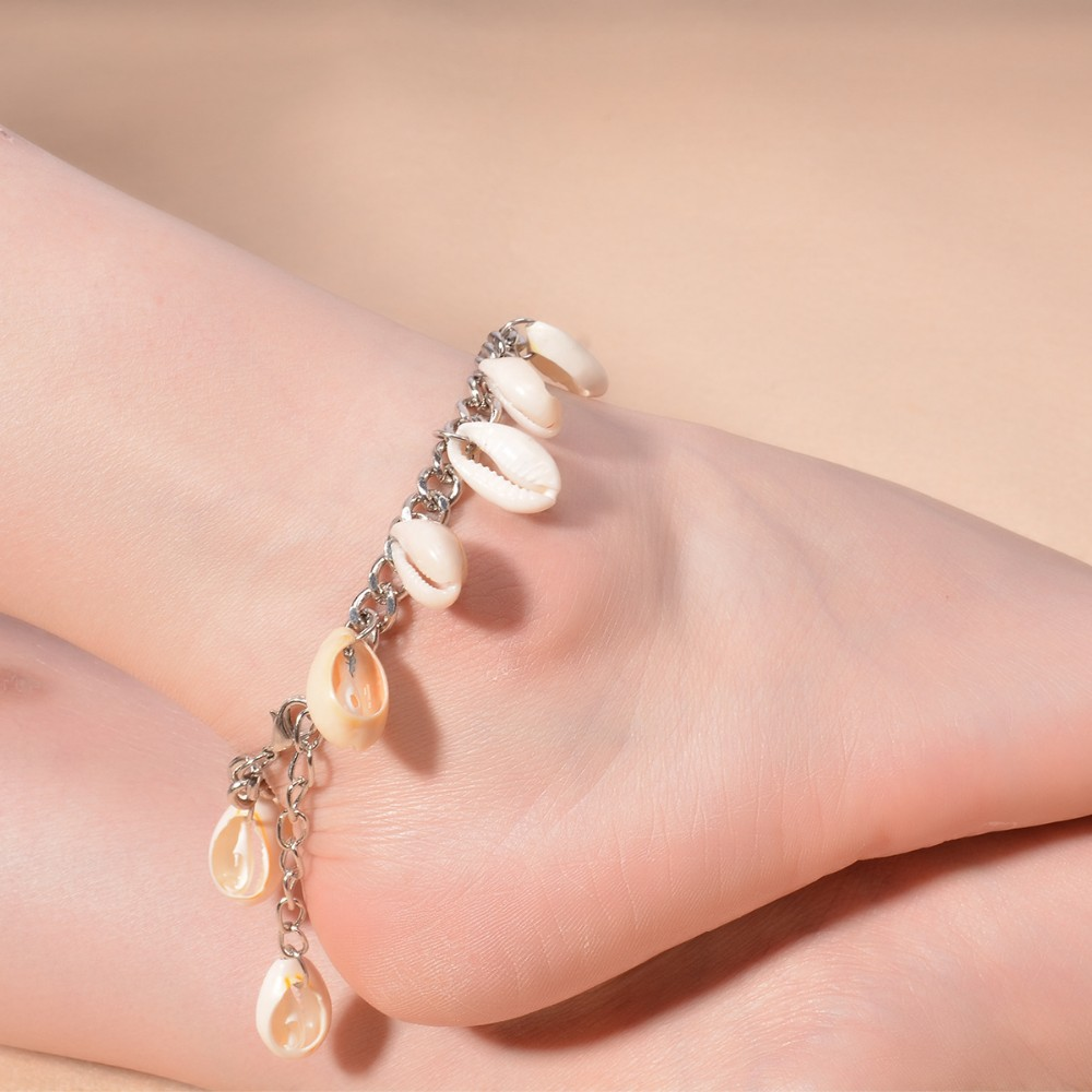 Summer Women Barefoot Sandle Ankle Bracelets Foot Jewelry Silver Shell Tassel Anklets Beach Accessory Wholesale 6Pcs