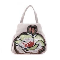 2016 Nieuwe Geborduurde Canvas Nationale Bloemen Tas Stijl Dubbele Rits Hasp Zachte Katoenen Doek Bag Vrouwelijke Kleine Verse Dames Handtas
