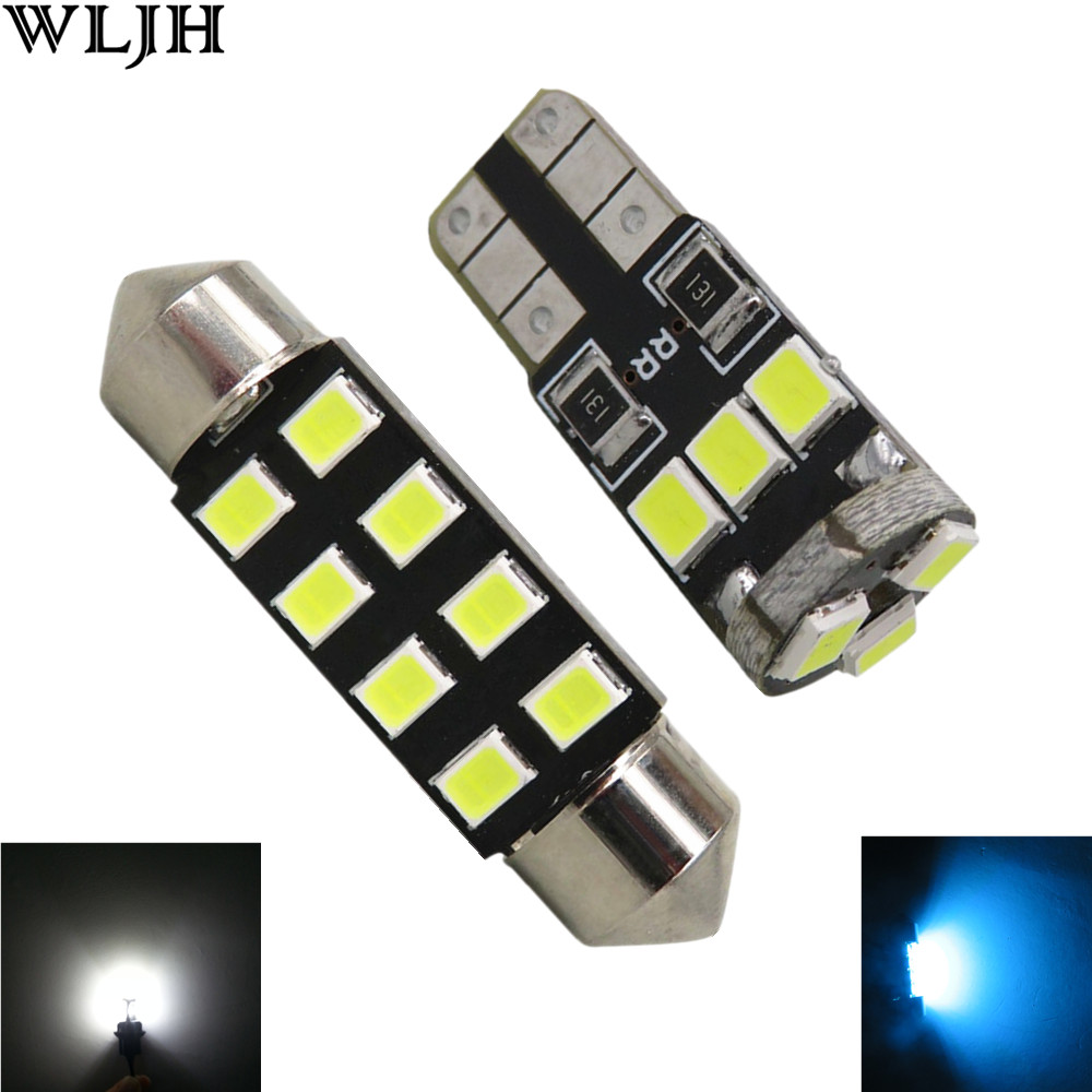 WLJH 10x Canbus 2835SMD T10 Wedge 41MM Led Dome Map Interior Light Package for Chrysler 300M 1999 2000 2001 2002 2003 2004 22pcs car canbus led kit package 5630 smd white interior map dome glove box door license plate light for jaguar f type 2014 20xx