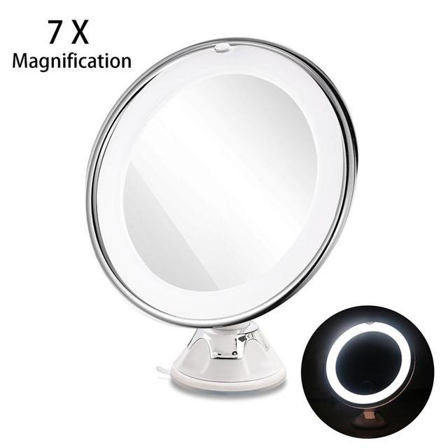 RUIMIO Ajustable Ampliación 7x Iluminado Espejo de Maquillaje LED Espejo De Viaje (Blanco)