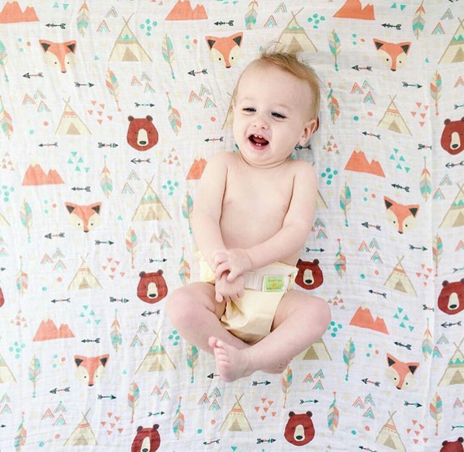 70% bamboo +30% cotton Baby muslin blanket baby swaddle Cartoon Printed Cotton Baby Blanket infant bath robe baby muslin blanket baby swaddle cartoon printed cotton baby blanket soft breathable for newborn