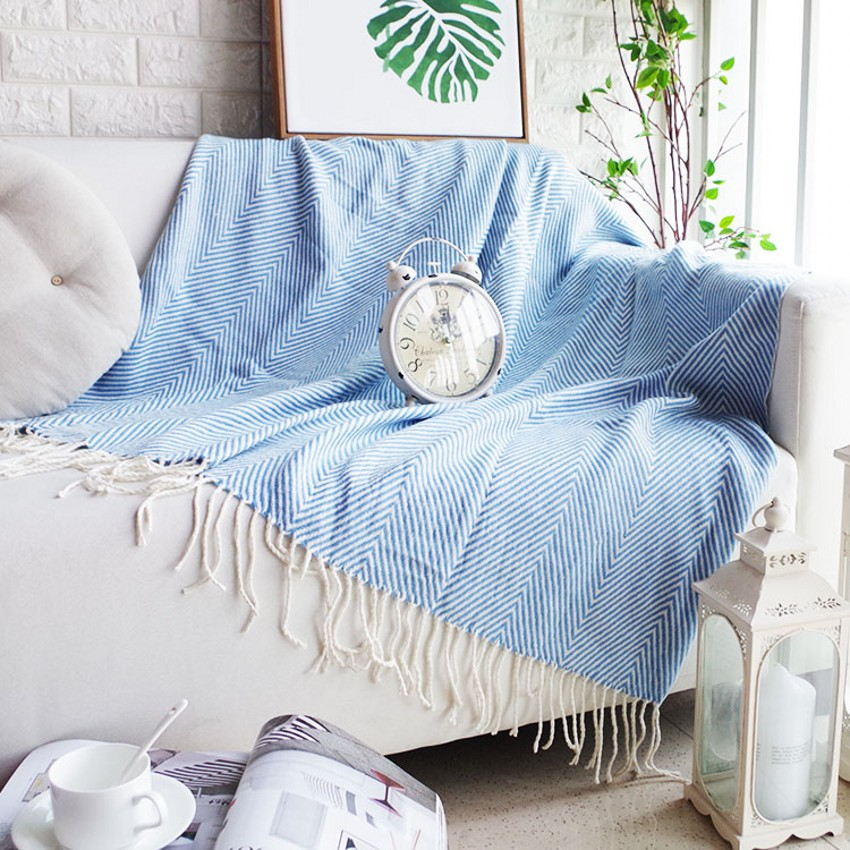 Cotton comfortable blue striped sofa cover blanket 130*170CM , gray color wearable blanket , sofa towel, car blanket double sides reversible mysterious style blanket 130 160cm durable wearable comforter sofa cover cloth pet blankets floor mat