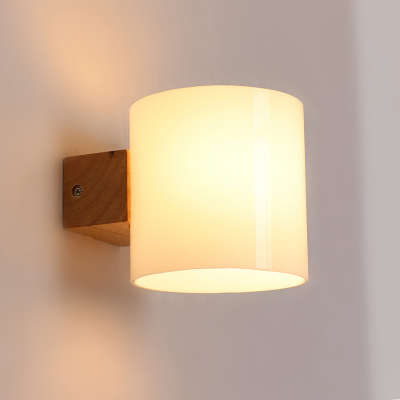 Buy Simple Modern Solid Wood Sconce Led Wall Lights For Home Bedroom Bedside