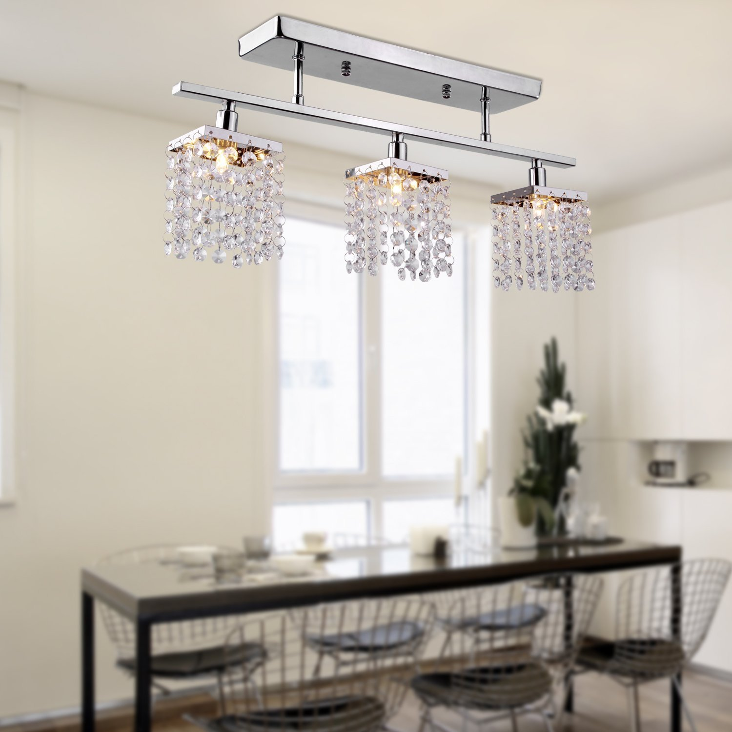 3 Light Hanging Crystal Linear Chandelier with Fixture Modern