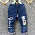 2016 новый зимний прибытие малыш толстые джинсы брюки мальчик и девочка теплые брюки джинсовые Фанк Роки design1-4 лет