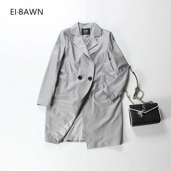 2018 chaqueta de cuero de las mujeres de piel de oveja gris negro botón  Vintage Otoño Invierno mejor genuino chaquetas de cuero para mujeres c064af71ac1f