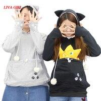 Cat Lovers Hoodies With Cuddle Pouch Mewgaroo Nyangaroo Dog Pet Hoodies For Casual Kangaroo Pullovers With Ears Sweatshirt 3XL