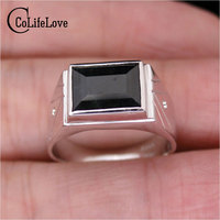 Classic Design Natural Man Sapphire Ring Real 925 Solid Sterling Silver Jewelry For Man 8 10mm