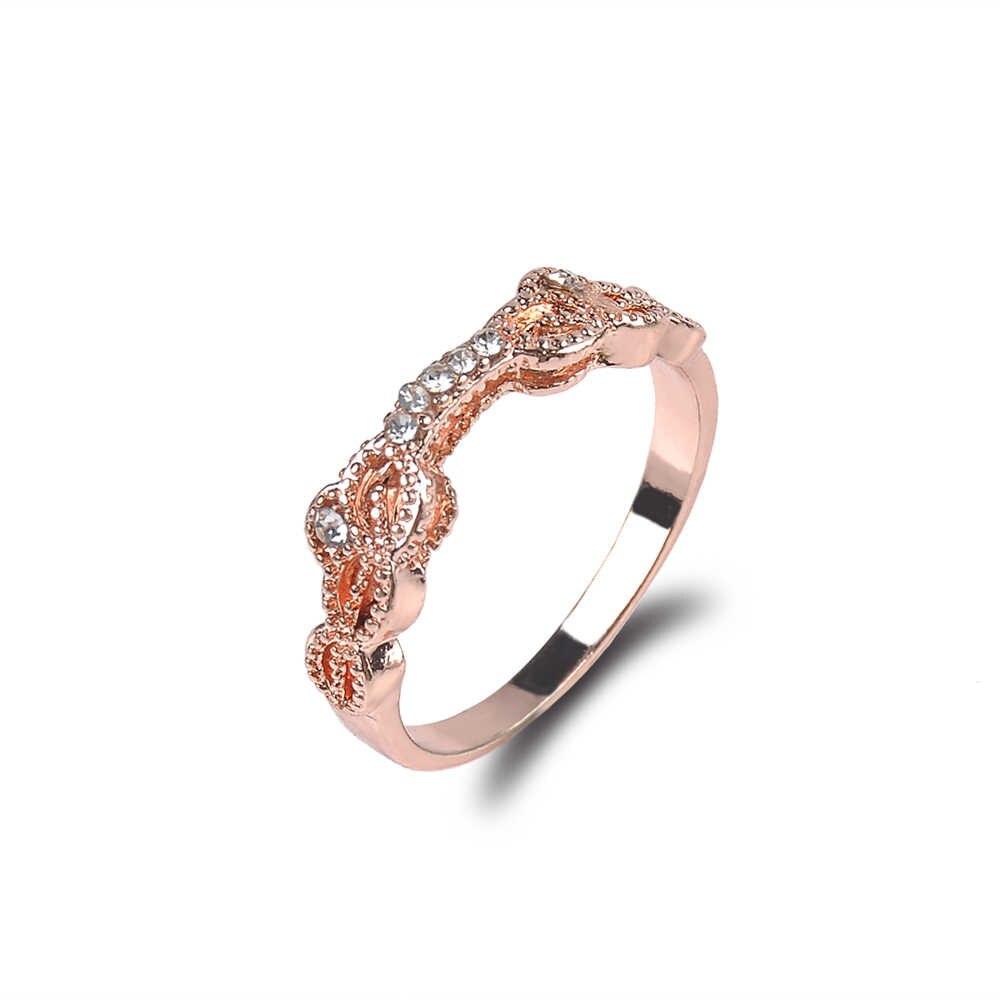 ผู้หญิงใหม่ 2 ชิ้น/เซ็ตแหวน Rose Gold Shining Zircon Charming แหวนหญิงเครื่องประดับหมั้นแต่งงานอุปกรณ์ตกแต่งขนาด 6-10