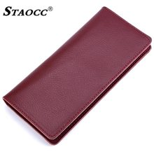 Long Wallet Genuine Leather Women Men Slim Thin Purse Simple Money Bag Cards Holder Purse Clutch Wallets Cowhide Carteira Mujer(China)
