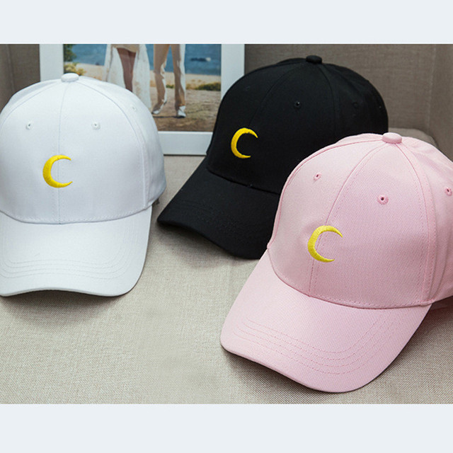 2017 Hot Sailor Moon crescent dad hat embroidered baseball caps Harajuku  soft sister moon snapback cap Sun hat lovers wholesale efe944eb0531