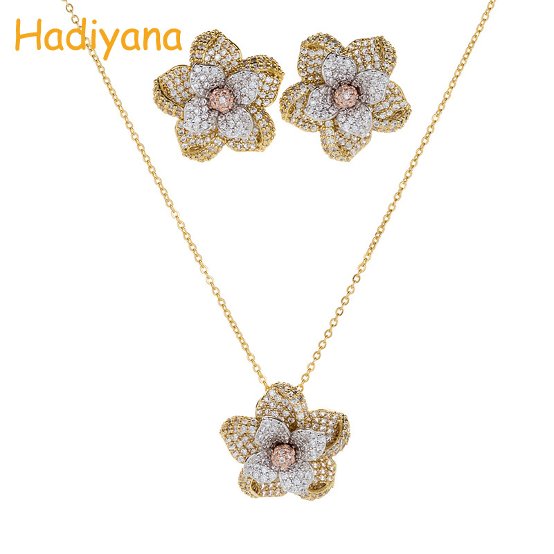 HADIYANA New Arrival Flower Necklace Earring Set 2018 For Women 3 color Design Copper Floral 2pcs Set With Cubic Zinconias CN805