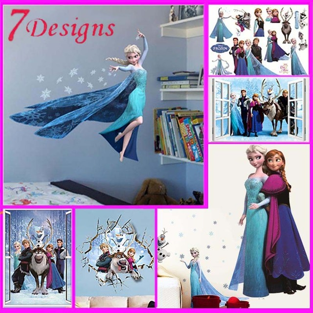 Hot movie wall stickers kids bedroom decorations 1418. cartoon film elsa anna olaf hans home decals children girls mural art 4.0