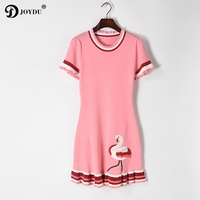 JOYDU Knitted Flaming Dress Women 2017 New Summer Short Sleeve Embroidery Striped Ruffles Casual Cute Dresses