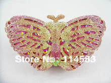 Butterfly color-C Crystal lady fashion Bridal Party hollow Metal Evening purse clutch bag case handbag