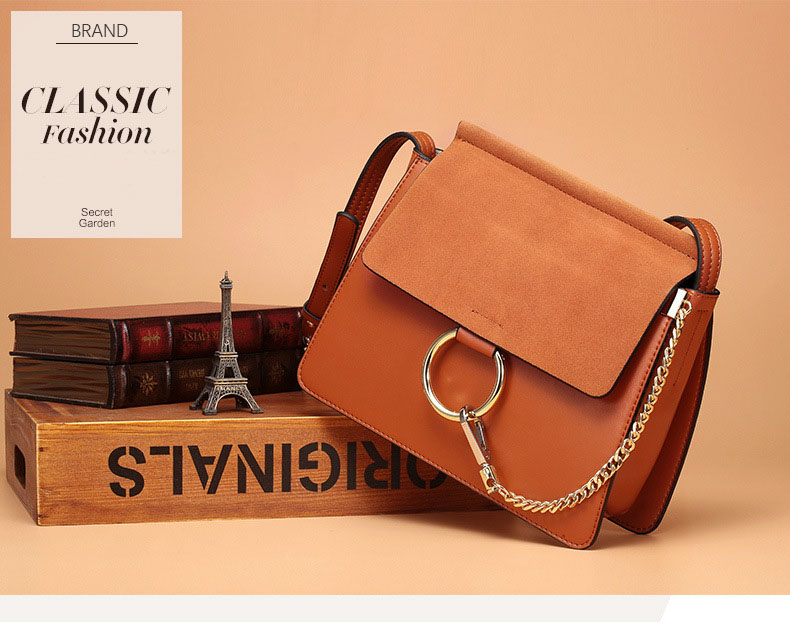 100% Genuine Leather Women Shoulder Bags Famous Brand Metal Ring Chains Women Crossbody Bags Retro Natural Leather Lady Handbag (7)