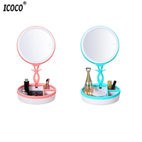 ICOCO USB Charging LED Touch Screen Desktop Makeup Mirrors Professional Travel Small Beauty Countertop Mirrors Brand