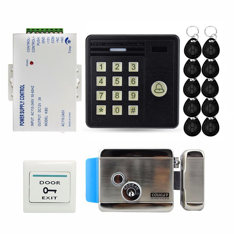 Home Security RFID Door Access Control System Kit Set Electric Magnetic Door Lock Rfid Keypad Code EXIT Button Power Supply 125khz rfid metal password keypad door access control security system kit electric magnetic lock ir no touch exit button 7612
