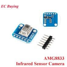 AMG8833 IR 8*8 مستشعر الأشعة تحت الحمراء وحدة الكاميرا الحرارية تصوير صفيف وحدة استشعار درجة الحرارة IIC I2C 3 5 فولت لاردوينو