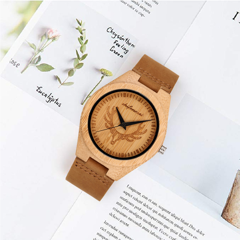 2019 New shifenmei Fashion Male Female Art Wooden Watch Natural Neutral Quartz Watch Party Gift Souvenir Wooden clock(China)