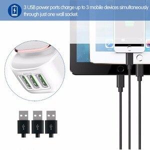 Image 3 - Powstro 3 port led lâmpada usb carregador adaptador 5 v 3.4a max 2 em 1 parede de viagem ue & eua auto id carregador de telefone móvel para iphone samsung