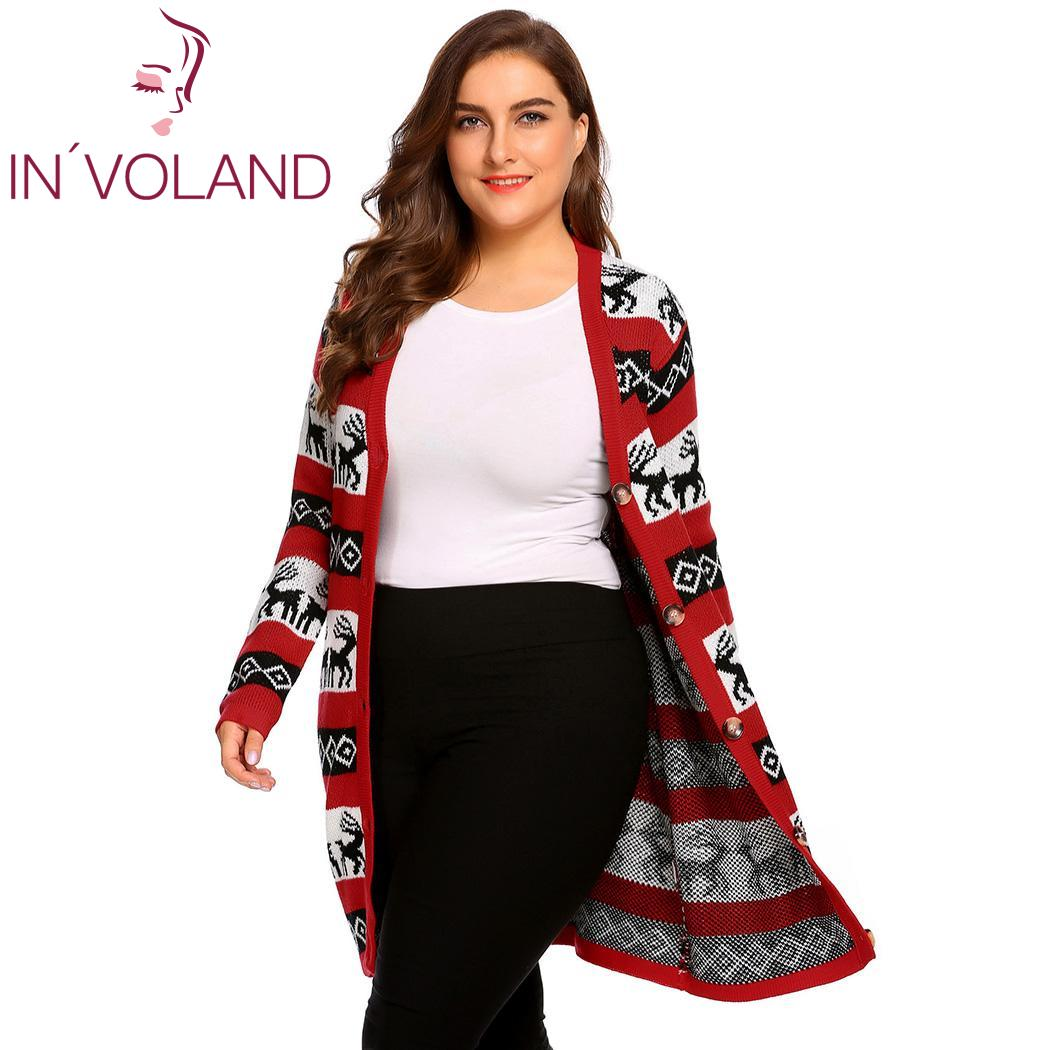 IN VOLAND Women Christmas Sweater Jacket Plus Size L 4XL Casual V Neck Oversized  Long Sleeve Printed Button Cardigan Big Size-in Cardigans from Women s ... 382da501776d