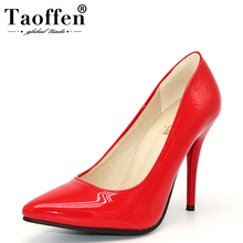 TAOFFEN Size 32 44 Women Stiletto High Heel Shoes Pointed Toe Sexy Quality Brand Wedding Heeled