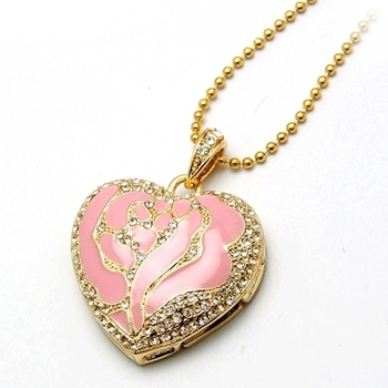 Heart Shaped Jewelry USB Flash Drive With Necklace Chain Pendrive 64GB Pen Drive 8GB 16GB 32GB USB Stick Disk On Key 64GB Gift
