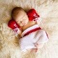 Personalidad Guante De Boxeo Y Traje Pantalón Bebé Recién Nacido Niño Niña Fotografía Atrezzo Moda Lindo Infantil Tejer Trajes de Ganchillo