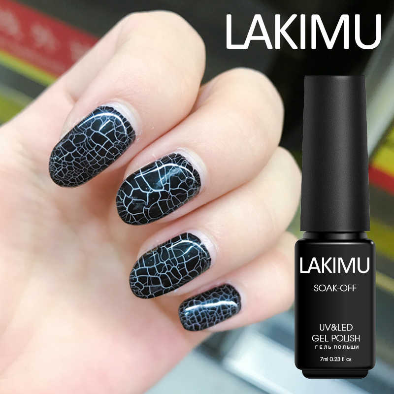 Lakimu Latest Crack Gel Lacquer Professional Lucky Colors Gel Varnish Soak Off Paint Semi Permanent Crackle UV Gel Nail Polish
