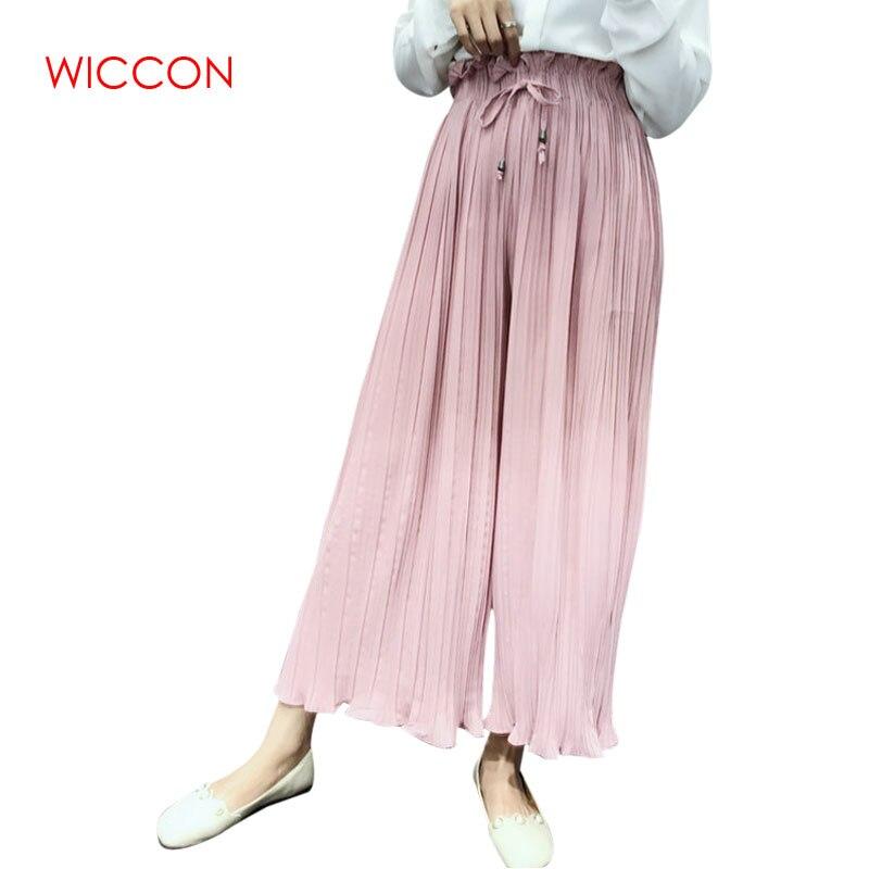 Fashion Hot New   Wide     Leg     Pants   Spring Summer Korean Flower Waist High Waist Pleated   Pants   Petals Hem Wild Chiffon Women Skirt