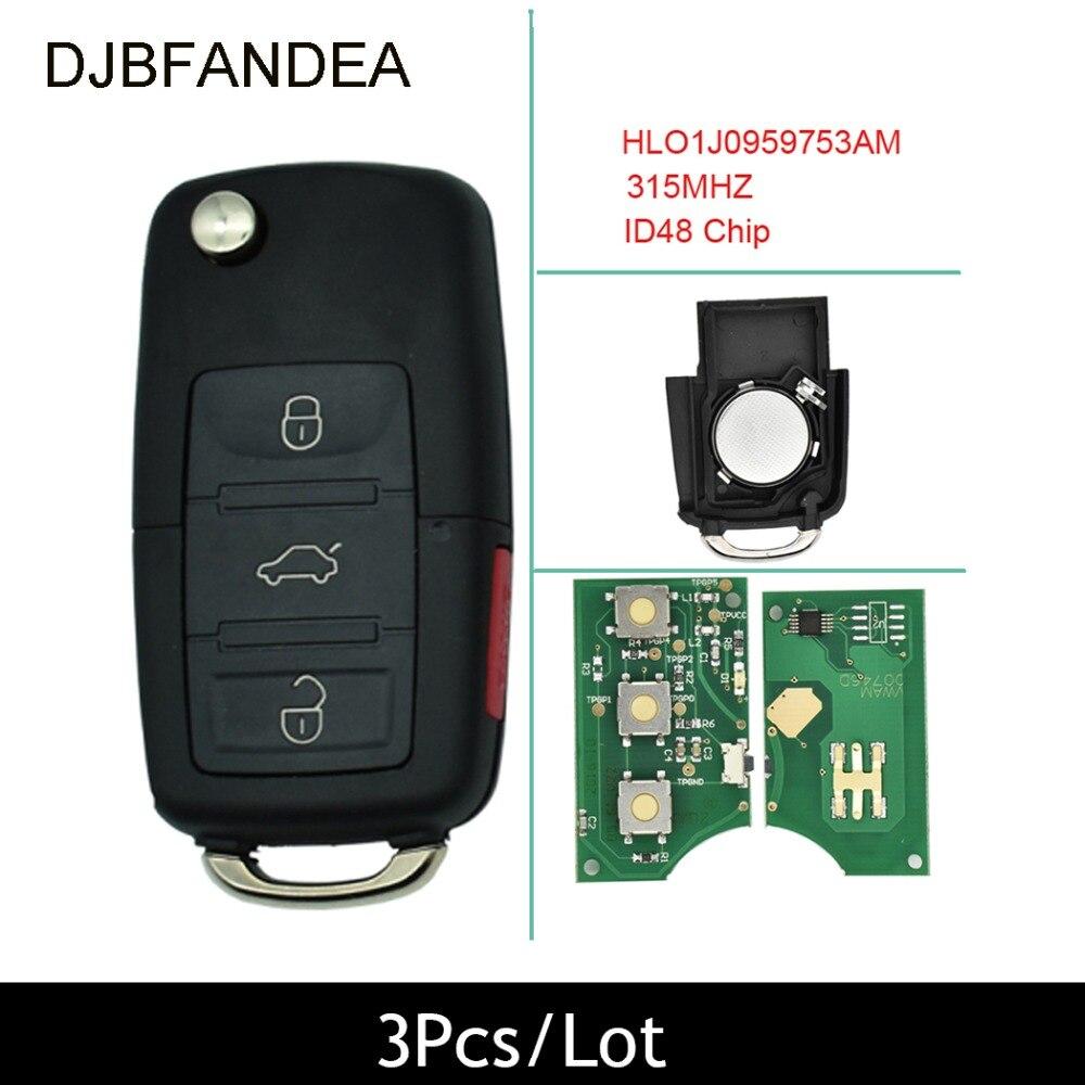 3PCS/Lot 4Button Flip Key Car Remote Keyless Entry Transmitter Fob For VW Jetta Passat 2002-2005 HLO1J0959753AM 315Mhz