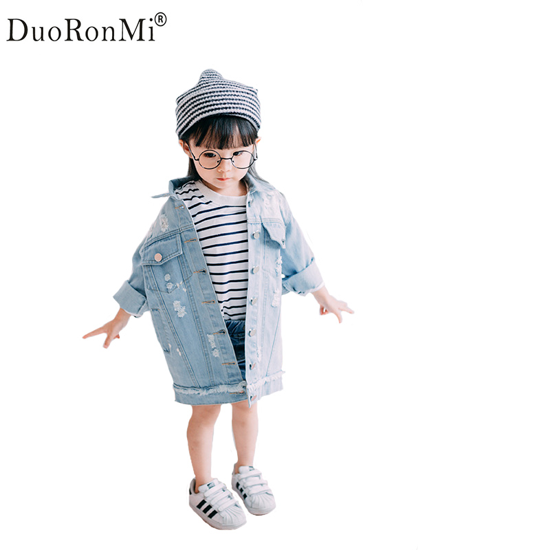 Baby Girls Hole Denim Jackets Coats Fashion Children Outwear Coat Brand Girl Long Design Casual Child Kids Denim Jacket 2015 new girls design jacket luxury brand child outwear flower printed coat