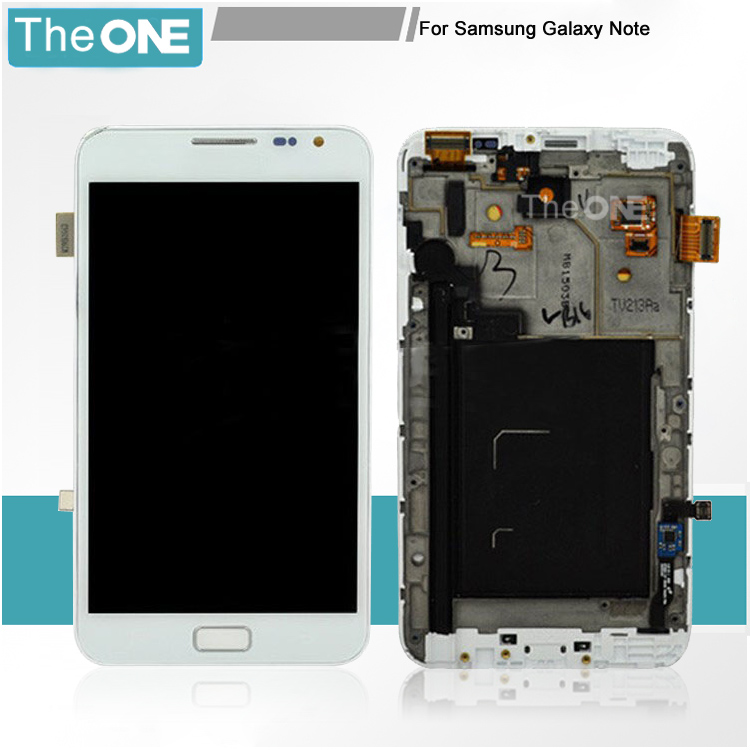 New For Samsung Note 1 N7000 LCD Display + Digitizer Touch Glass +Frame Assembly Free Shipping Black/White 1 pcs for iphone 4s lcd display touch screen digitizer glass frame white black color free shipping free tools