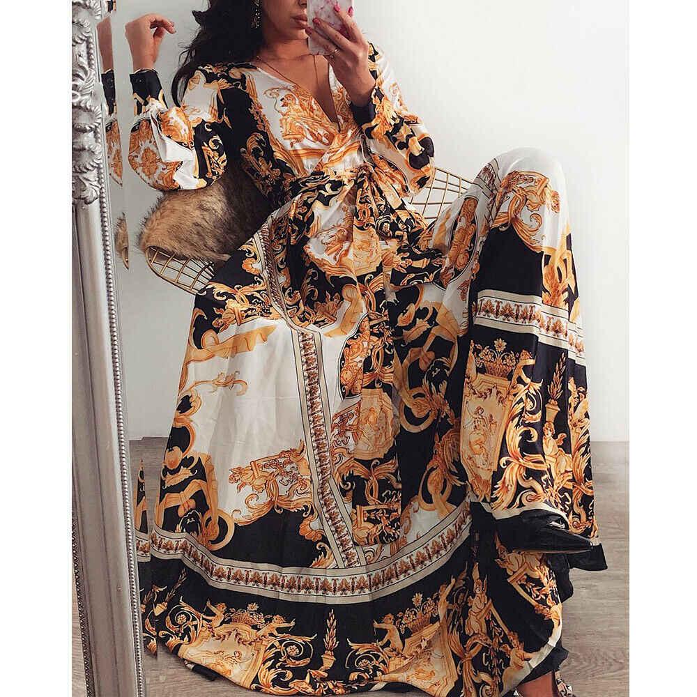 Женское платье с цветочным принтом, с длинным рукавом, в стиле бохо, с v-образным вырезом, винтажное, праздничное, для вечеринки, свободное, длинное, с разрезом, Бандажное, макси платье, Новинка Vestidos