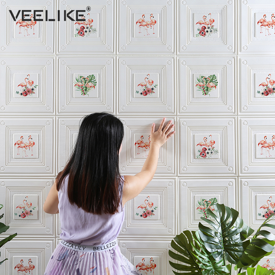 2019 Newest Style Vinyl Foam Wall Decoration Film Creative Self-Adhesive Wallpaper For Living Room Bedroom Modern Decor Pattern