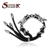 Steel Soldier Punk Leather Dragon Bracelet Fashion Personality Jewelry For Men Stainless Steel Unique Jewelry
