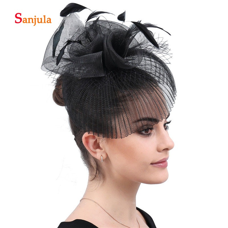Fashion Black Tulle Hats 2019 Feathers Handmade Flowers Noble Bridal Wedding Hats Women Fanscinators Headwer H197